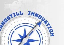 Innovationskonzept mit dem Kompass, der in Richtung zum Text zeigt lizenzfreies stockfoto