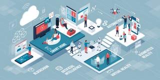 Innovativ infographic teknologi och livsstil stock illustrationer