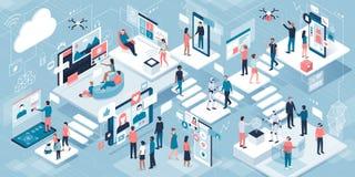 Innovativ teknologi och livsstil royaltyfri illustrationer