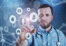 Innovativa teknologier i vetenskap och medicin beståndsdelar för illustration 3D i collage Arkivbild