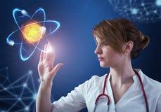 Innovativa teknologier i vetenskap och medicin beståndsdelar för illustration 3D i collage royaltyfri illustrationer