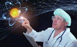 Innovativa teknologier i vetenskap och medicin beståndsdelar för illustration 3D i collage Royaltyfria Foton
