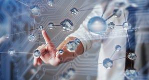 Innovativa teknologier i vetenskap och medicin Teknologi som ska förbindas Begreppet av säkerhet royaltyfria bilder