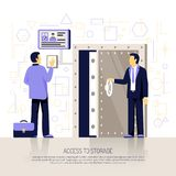 Identification Technologies Flat Composition. Innovative biometric technologies flat illustration with automated hand identification security system Royalty Free Stock Images