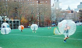 Innovative bubble soccer manhattan new york Stock Photography