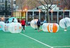 Innovative bubble soccer manhattan new york Stock Photo