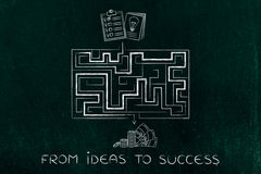 From innovative business ideas to obtaining profits, maze metaph Stock Photo
