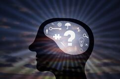 Free Innovative Businessman Brain, Mind Thinking In Business Things In Front Of Shiny Sun Rays Concept, Man Head With Business Icons, Stock Image - 216033501
