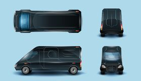 Innovative Commercial Van Realistic Vector Set royalty free illustration