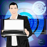 Innovative computer designing. Creates the newest technologies in all branches of economy and the industry Royalty Free Stock Photos