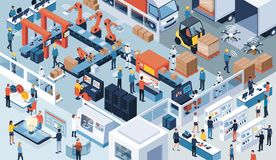Industry 4.0, automation and innovation. Innovative contemporary smart industry: product design, automated production line, delivery and distribution with people stock illustration