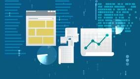 Advanced Files and Docs Illustration. Innovative 3d illustration of files and documents with a pie graph, line chart, bar chart, histogram, pedigree graph, texts Stock Photos