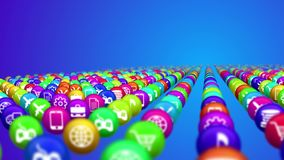 Socila media news balls in rows. Innovative 3d illustration of social media services in billiards balls placed in rows. All balls are covered with icons offering Stock Images