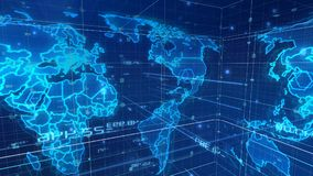 Digital Mass Media World Map. An innovative 3d illustration of a world communication map placed askew, with a light blue grid, a lot of dazzling dots and lines vector illustration