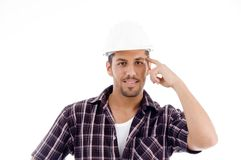 Innovative engineer looking at camera Stock Photo