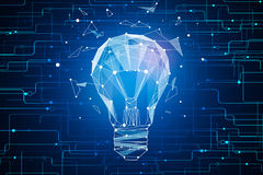 Innovative idea concept. Abstract glowing polygonal tech lamp on dark blue background. Innovative idea concept. 3D Rendering Royalty Free Stock Photo