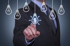 Innovative idea finance solution concepts on touch screen royalty free stock photos