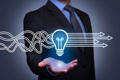 Innovative idea solution concepts on touch screen royalty free stock images