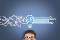 Innovative idea solution concepts on visual screen. Business working concepts royalty free stock images