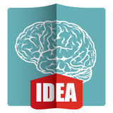 Innovative idea. Template with abstract human brain illustration Stock Photos