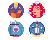 Innovative ideas invention and discovery. Launch and perform experience. Vector illustration Royalty Free Stock Images