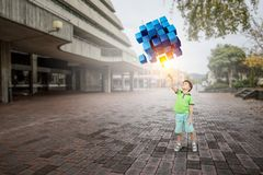 Innovative impressive technologies. Kid boy and media cube figure as symbol for technologies. 3d rendering Royalty Free Stock Photos