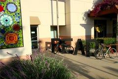 Innovative library bike rack says READ. Vista Public Library, Vista, California royalty free stock image