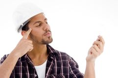 Innovative Male Looking At Electric Bulb Stock Photos