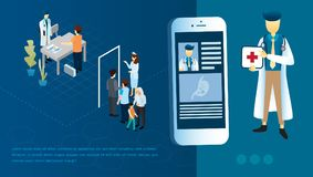 Innovative medical app on a smartphone with doctor and patients meeting on the blue background royalty free illustration