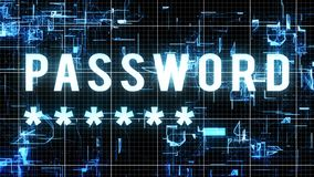 Innovative Password Asterisk Illustration. An advanced 3d illustration of a digital password with five corner asterisks in a big font located in cyberspace from Royalty Free Stock Photo