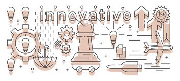 Innovative Person Illustration. Line Art Design. Pawns That Always Advance First stock illustration