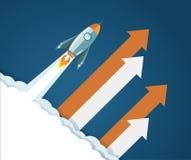 innovative rocket flaying to the sky. Stock Photos