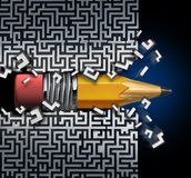 Innovative Solution Plan. As a pencil  trying to find way out of maze breaking through the labyrinth as a business concept and creative metaphor for strategy Royalty Free Stock Photos
