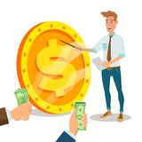 Innovative Start Up Vector. Monetization Project Idea Concept. Businessman With Big Dollar Sign. Isolated On White. Cartoon Royalty Free Stock Images