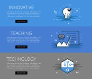 Innovative Teaching Technology. Vector banners set. Flat line design web banners for educational sites. Vector illustration concept for web design with call to Stock Photography