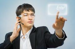 Innovative technologies. Successful person making use of innovative technologies stock photo