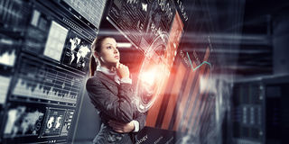 Innovative technologies as symbol for progress. Mixed media Royalty Free Stock Images