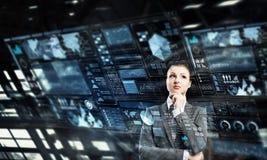 Innovative technologies as symbol for progress. Mixed media Royalty Free Stock Photos