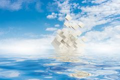 Innovative technologies and environment. Cube figure reflecting in sea waves. 3d rendering Stock Photography