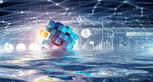 Innovative technologies and environment. Cube figure reflecting in sea waves. 3d rendering Royalty Free Stock Photo