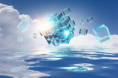 Innovative technologies and environment. Cube figure reflecting in sea waves. 3d rendering Royalty Free Stock Images