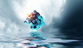 Innovative technologies and environment. Cube figure reflecting in sea waves. 3d rendering Stock Image