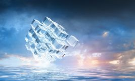 Innovative technologies and environment. Cube figure reflecting in sea waves. 3d rendering Royalty Free Stock Image