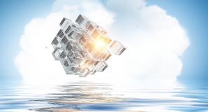 Innovative technologies and environment. Cube figure reflecting in sea waves. 3d rendering Stock Photo