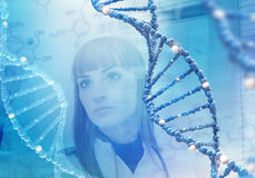 Innovative technologies in science and medicine. Beautiful female doctor Stock Photos