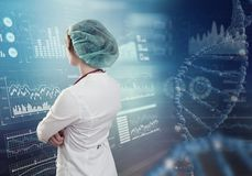 Innovative technologies in science and medicine. Beautiful female doctor. 3D illustration elements in collage Royalty Free Stock Image