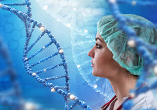 Innovative technologies in science and medicine. 3D illustration elements in collage. Innovative technologies in science and medicine in 3D illustration of DNA Royalty Free Stock Image
