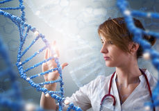 Innovative technologies in science and medicine. 3D illustration elements in collage. Innovative technologies in science and medicine in 3D illustration of DNA Royalty Free Stock Photo