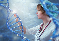 Innovative technologies in science and medicine. 3D illustration elements in collage. Innovative technologies in science and medicine in 3D illustration of DNA Stock Photo