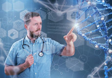 Innovative technologies in science and medicine. 3D illustration elements in collage. Innovative technologies in science and medicine in 3D illustration of DNA Royalty Free Stock Images